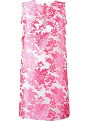 Versace Baroque Jacquard Sheer Dress Pink And Purple