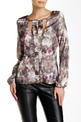 Lez A Lez Printed Cutout Blouse Metallic