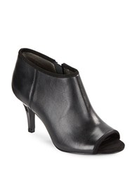 Bandolino Maiba Leather Open Toe Booties Black