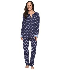Lucky Brand Tucked Pj Set Navy Floral Women's Pajama Sets