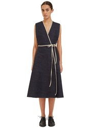 Alexa Stark Denim Wrap Dress Navy