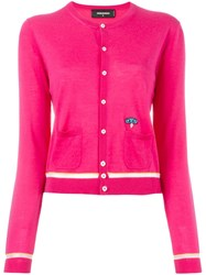 Dsquared2 Contrasted Stripe Cardigan Pink And Purple
