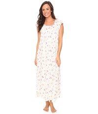 Carole Hochman Flutter Sleeve Long Gown Holiday Bouquet Twin Women's Pajama White