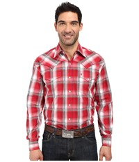Stetson Red Barn Ombre Long Sleeve Woven Snap Shirt Red Men's Clothing