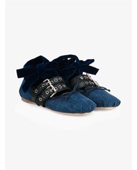 Miu Miu Velvet Leather And Denim Ballerina Flats Denim Silver Blue