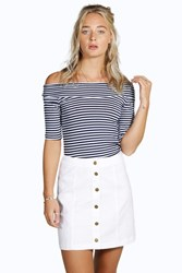 Boohoo Denim Button Front Mini Skirt White
