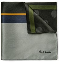 Paul Smith Printed Silk Satin Pocket Square Black