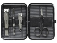 Kenneth Cole Reaction Cut To The Chase 4 Piece Manicure Set Stainless Steel Wallet Silver