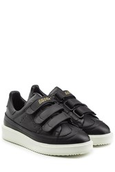 Golden Goose Leather Sneakers With Velcro Straps Black