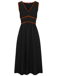 Hotsquash Retro Crepe Sundress In Coolfresh Fabric Black