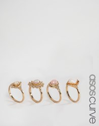 Asos Curve Boho Girl Stack Rings Multi