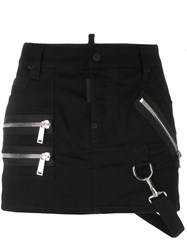 Dsquared2 Zip Detail Mini Skirt Black