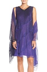 Women's Komarov Tiered Chiffon Shift Dress And Shawl