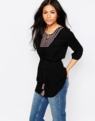 Daisy Street Smock Top With Embroidered Neckline Black