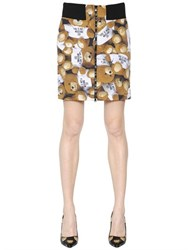 Moschino Teddy Bear Printed Techno Faille Skirt