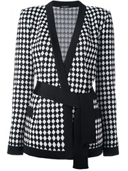 Balmain Checked Belted Cardigan Black