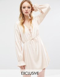 Reclaimed Vintage Boho Dress With Frill Sleeve Nude