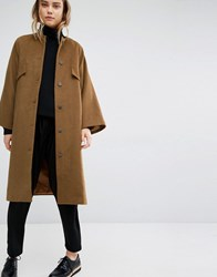 Paisie Oversized Collarless Coat Brown