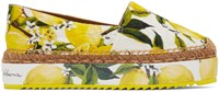 Dolce And Gabbana Yellow And White Lemons Espadrilles