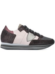 Philippe Model Panelled Sneakers Pink And Purple