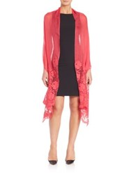 Valentino Floral Lace Trimmed Shawl Pink Rose