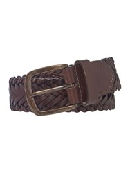 Howick Plaited Leather Belt Brown