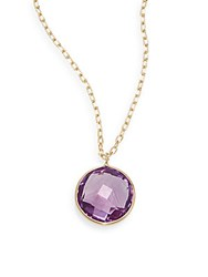 Saks Fifth Avenue Lollipop Amethyst And 14K Yellow Gold Bezel Pendant Necklace Gold Purple