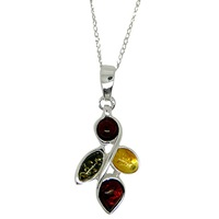 Goldmajor Sterling Silver Multi Colour Amber Necklace Amber