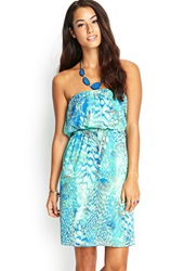 Forever 21 Strapless Abstract Dress Mint Blue
