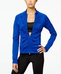 Jessica Simpson The Warm Up Juniors' Ruched Track Jacket Deep Carribean