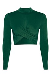 Topshop Petite Longsleeve Twist Front Crop Top Green
