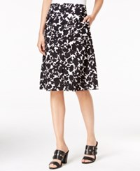 Tommy Hilfiger Printed Button Front Skirt Only At Macy's Deep Black