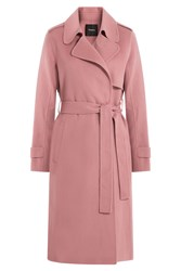 Theory Belted Wool Coat Rose