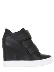 Dkny 100Mm Nappa Leather Wedge Sneakers