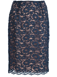 Jo No Fui Lace Pencil Skirt Blue
