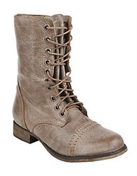 Steve Madden Troopa Leather Lace Up Mid Calf Boots Beige