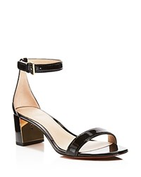 Tory Burch Cecile Ankle Strap Mid Heel Sandals Black