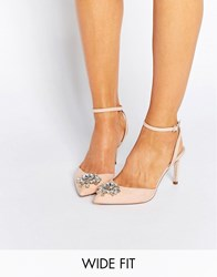 Asos Society Wide Fit Embellished Heels Apricot Beige