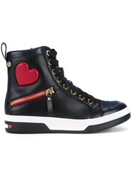Love Moschino Heart Motif Lace Up Hi Tops Black