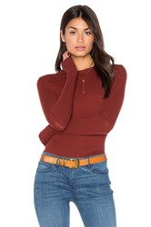 Enza Costa Cashmere Cuffed Crew Neck Top Rust