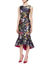 Oscar De La Renta Abstract Floral Print High Low Flounce Hem Dress