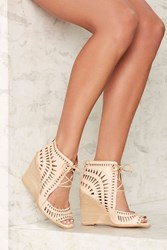 Jeffrey Campbell Rodillo Leather Wedge Beige
