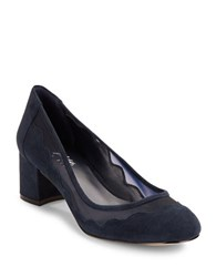 424 Fifth Vinney Mesh Accented Suede Pumps Navy