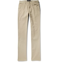 Brioni Slim Fit Cotton Twill Trousers Neutrals