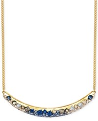 Swarovski Gold Tone Faceted Stone And Crystal Collar Necklace