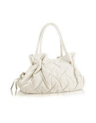 Fontanelli Pleated Nappa Leather Satchel Bag White