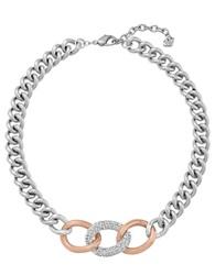 Swarovski Bound Rose Goldtone And Silvertone Curb Chain Necklace Silver Rose Gold