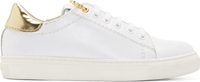 Versus White And Gold Safety Pin Sneakers