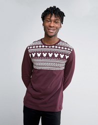 Asos Mickey Christmas Relaxed Long Sleeve Tshirt With Fair Isle Yoke Print Oxblood Red