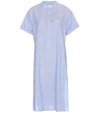 Closed Striped Cotton And Linen Dress Blue
